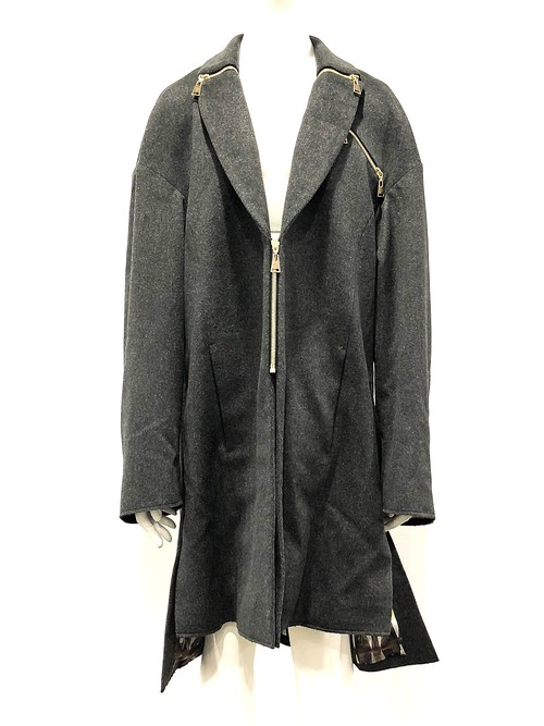 Zip Collar Coat (Grey)
