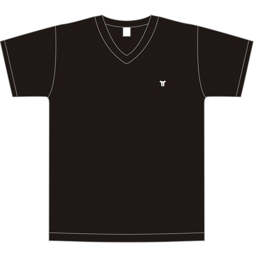 胸刺繍ワンポイント VネックTシャツ(ホワイト/ブラック/グレー/ネイビー)