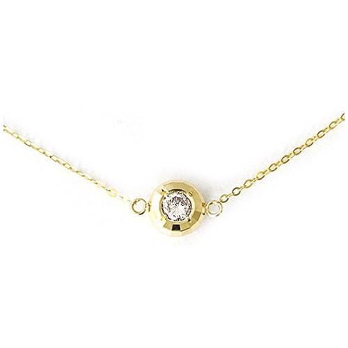 【鑑別書付】  K18YG 18金 天然 ダイヤモンド ネックレス