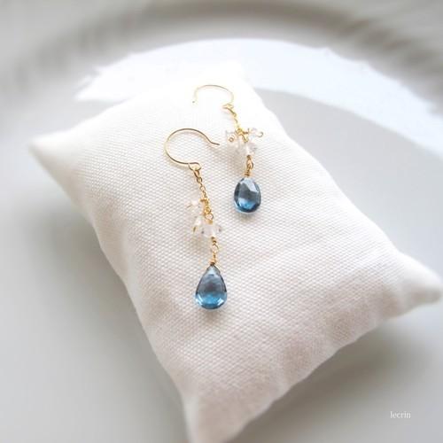 K14gf 天然石「ロンドンブルートパーズ&ハーキマーダイヤモンド」ピアス | イヤリング