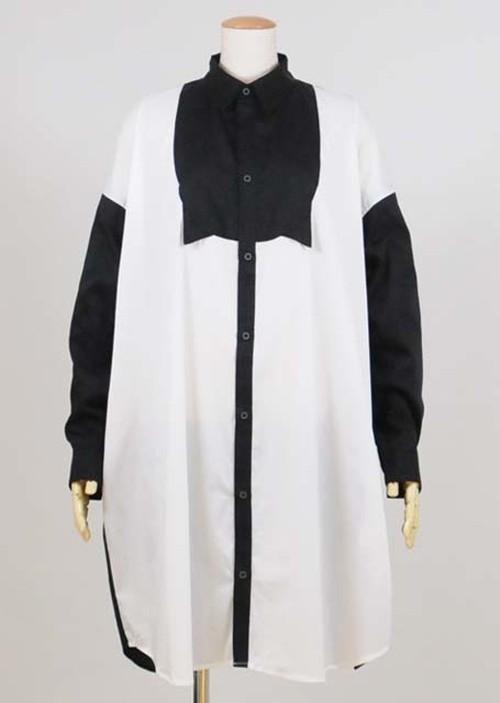 ネコミミロングシャツ BK-WH
