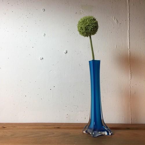 BLUEガラス レトロ花瓶 一輪挿し