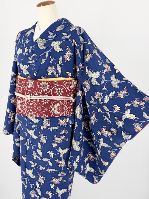 小紋 袷着物 着物 きもの カジュアル着物 仕立て上がり 送料無料 リサイクル着物 中古 身丈161.5cm 裄丈66.5cm
