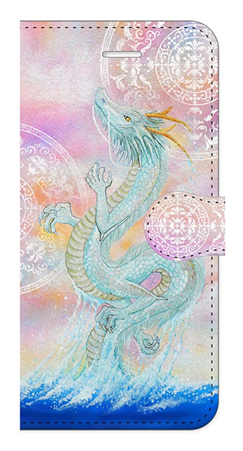 【iPhone7/iPhone8】龍宮神 白曼荼羅つき RyuGuJin Divine Dragon-White Mandala 手帳型スマホケース