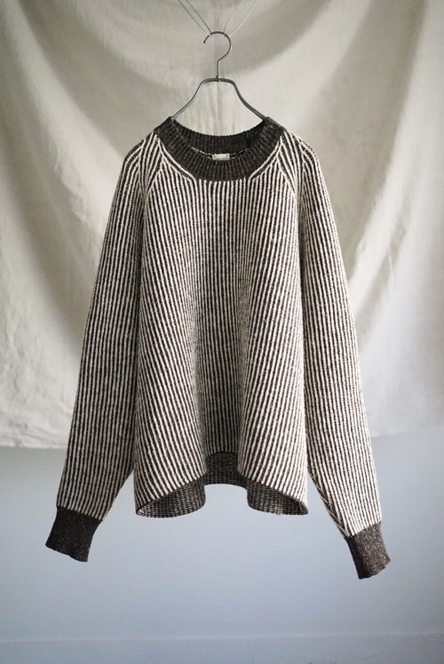 <SOLD OUT>JAN JAN VAN ESSCHE - STRIPED, LOOSE FIT KNITTED CREW NECK SWEATER
