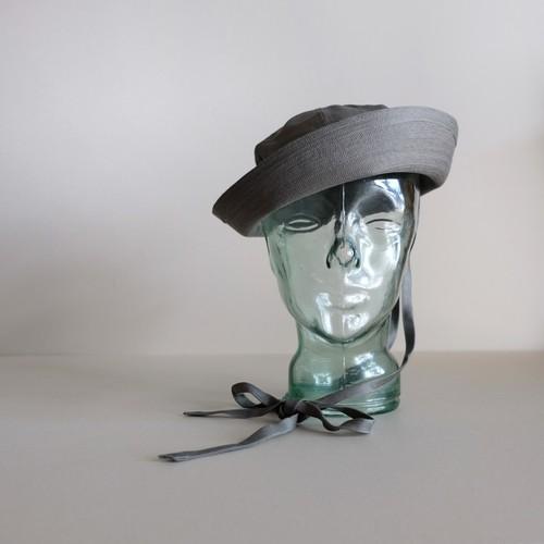 リボンの付いたセーラーハット 【Cotton linen sailor hat】- Herringbone / sage gray -
