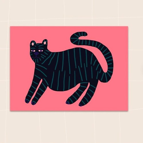 "Jennifer Bouron ""Black cat"" Postcard"