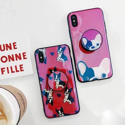 犬 グリップトック 可愛い iPhone シェルカバーケース レッド ブルドック 便利 ハート ★ iPhone 6 / 6s / 6Plus / 6sPlus / 7 / 7Plus / 8 / 8Plus / X ★ [MD443]