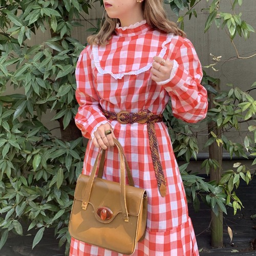 (LOOK) gingham check frill one-piece