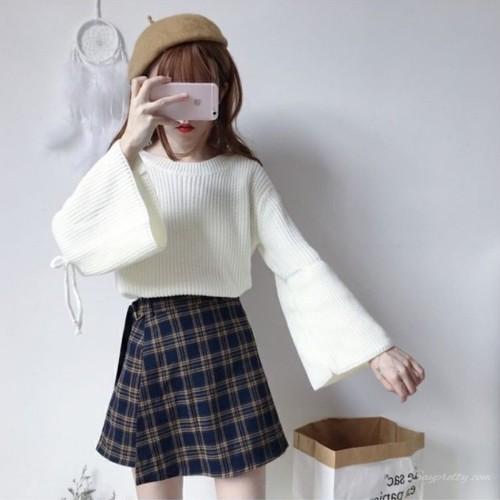 【トップス】スウィートキュートストラップスピーカースリーブニットセーター