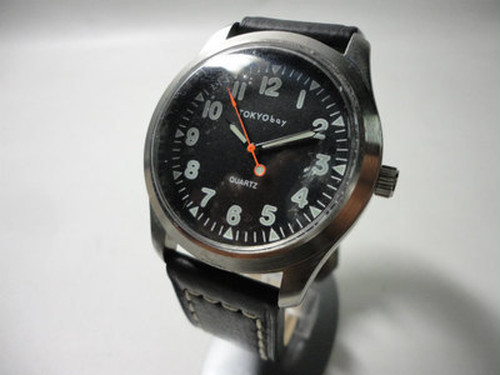 TOKYObay Watch (Black, Black leather)