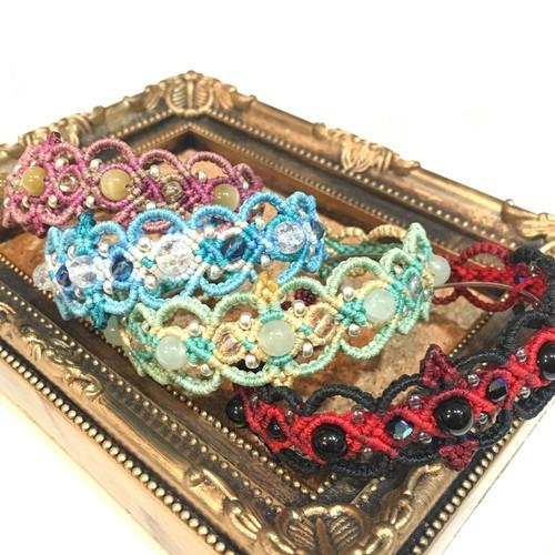 天然石のマクラメ編みバングル/リップ