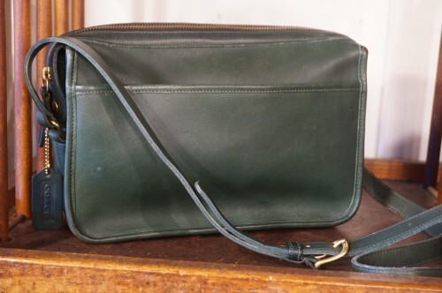 80's COACH green square shoulder Bag