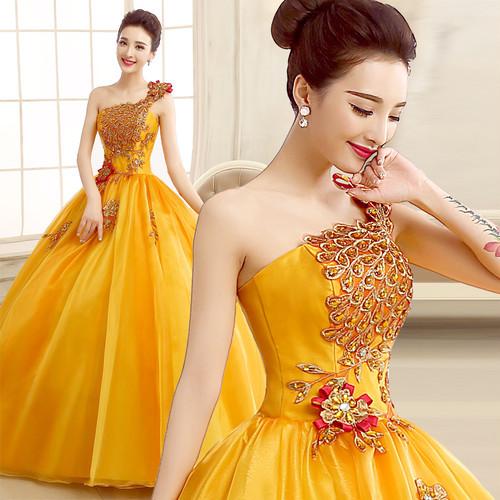 8009カラードレス ロングドレス 結婚式二次会 発表会 披露宴 演奏会 大きいサイズ  小さいサイズ 黄色