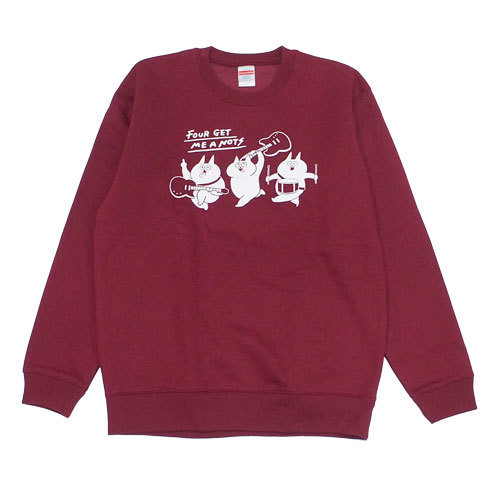 """Crazy cats"" Crew Neck Sweater Burgundy"