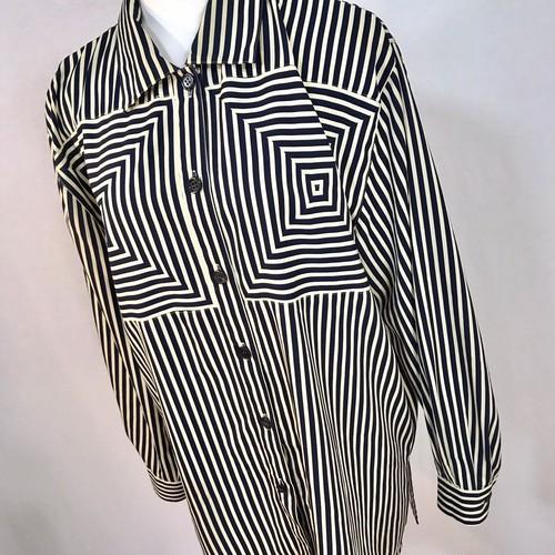 幾何学ストライプ柄 シルクシャツ