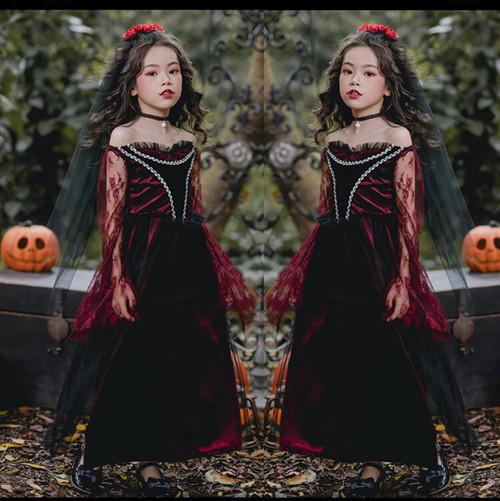 3556ハロウィン コスプレ衣装 コスチューム 仮装 キッズ 女の子 子供 衣装 吸血鬼 魔女 ヴァンパイア ゾンビ 幽霊