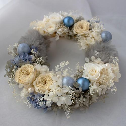 【送料無料】プリザーブドフラワーリース ホワイト×ブルー   Lサイズ