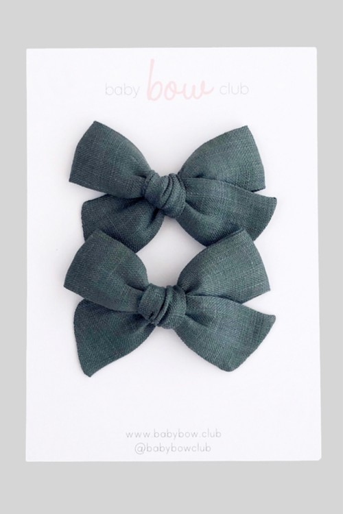 BABY BOW CLUB Forest Linen // Mini Bow // Pigtail Set or Single