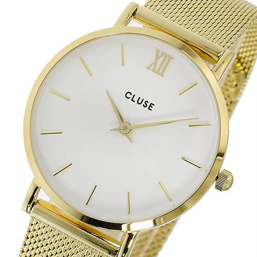 クルース CLUSE ミニュイ メッシュベルト 33mm レディース 腕時計 CL30010 ゴールド/ホワイト ホワイト