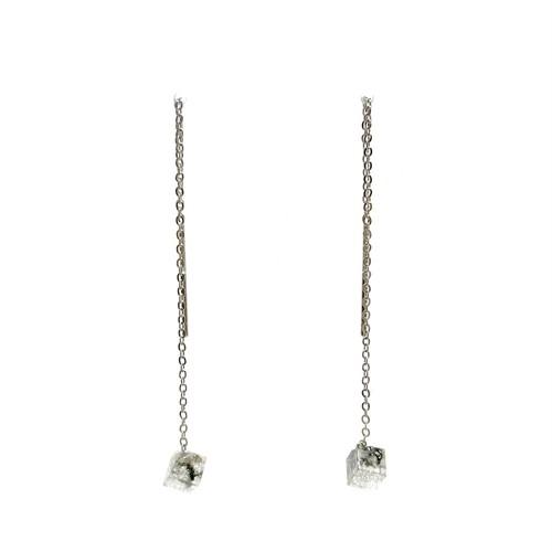 チェーンピアス シルバースクエアS・Threader Earrings - Silver Square (S)