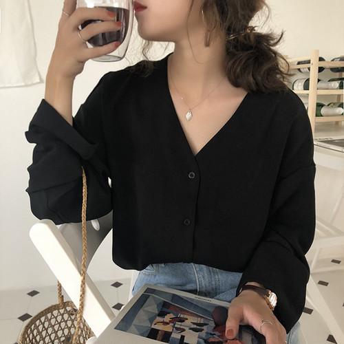 【トップス】超お買い得!シフォン無地Vネック長袖ファッションシングルブレストショート丈シャツ