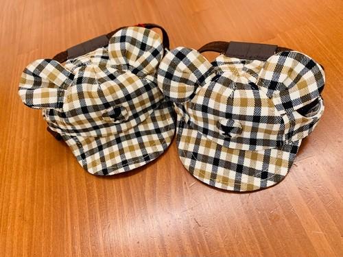 テディベアCAP/犬帽子/チェック柄/くま耳/クマ/犬服/日本製
