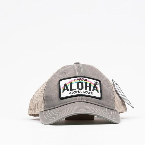 808 Clothing Vintage Washed Hawaii License Plate Trucker Hat【808クロージング】グレー ビンテージ ウォッシュド ハワイ ライセンス プレート トラッカー ハット