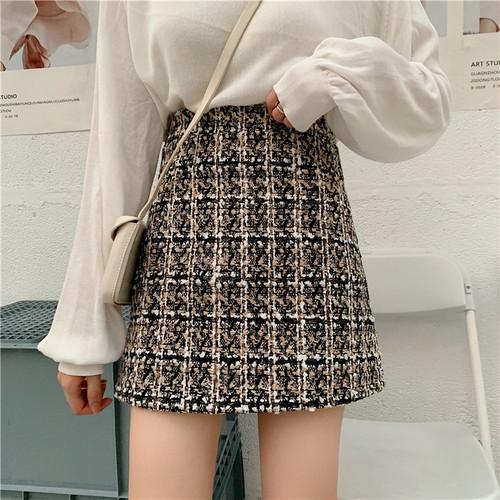 【ボトムス】ファッション通販ハイウエストチェック柄スカート24003655
