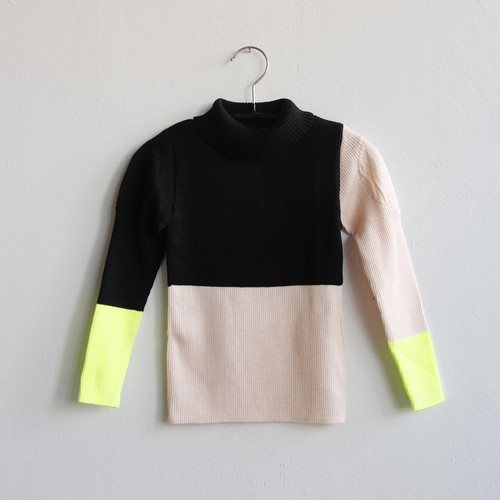 《frankygrow 2020AW》MULTI COLOR SWELL SHOULDER HIGH-NECK KNIT / black × pink × yellow / S・M・L