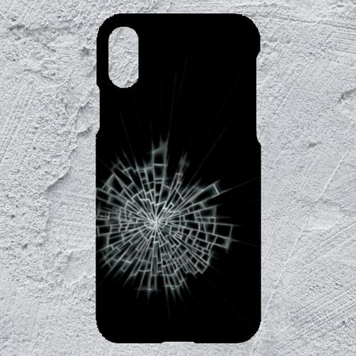 【iPhoneXR対応】ガラスひび割れハードケース#割れてる!デザイン