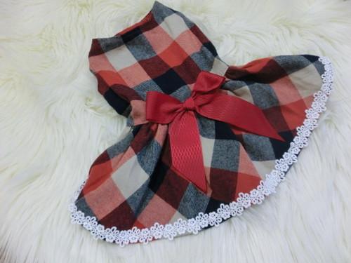 ★かわいい犬服ワンピ/ドレス  ブロックチェックワンピ