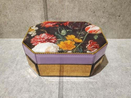 フラワーグラスボックス 小物入れ 花柄