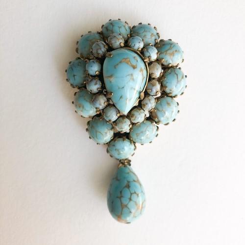 turquoise brooch[b-249]