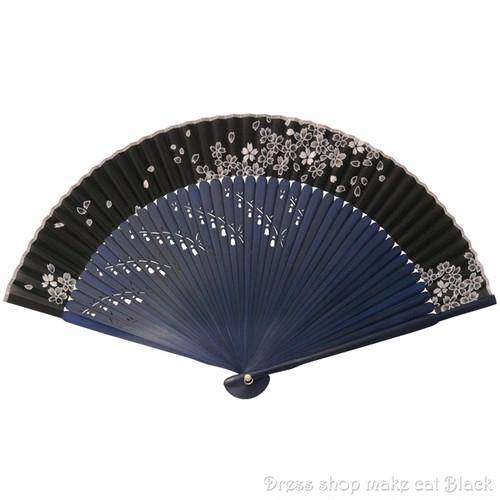 旭王 扇子 桜 ブラックネイビー 123009 夏祭り 浴衣