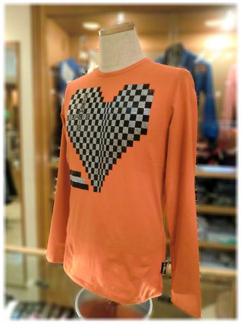 【 USUALIS 】 ウザリス      - Italy -             クルーネック 長袖Tシャツ   ハートデザイン × ラインストーン
