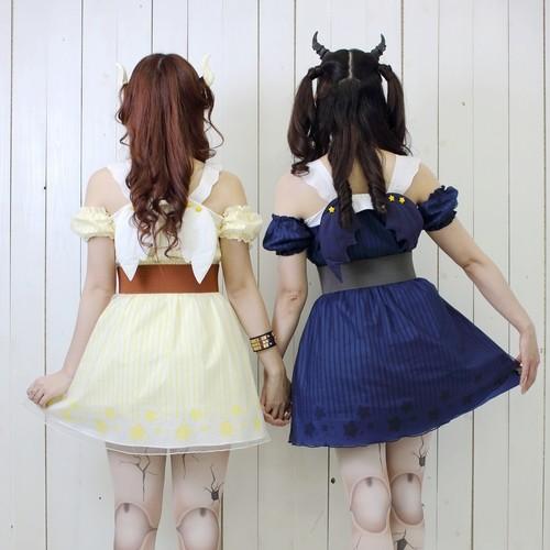 天使と悪魔の双子コーデワンピース
