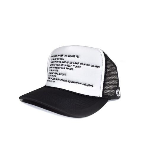 TEN COMMANDMENTS MESH CAP / WHITExBLACK