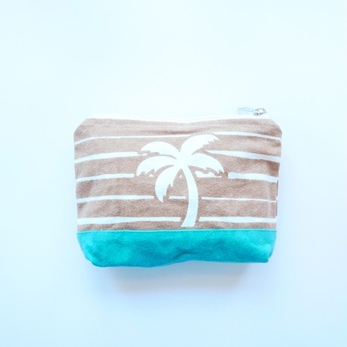 palm tree pouch -brown × mint-