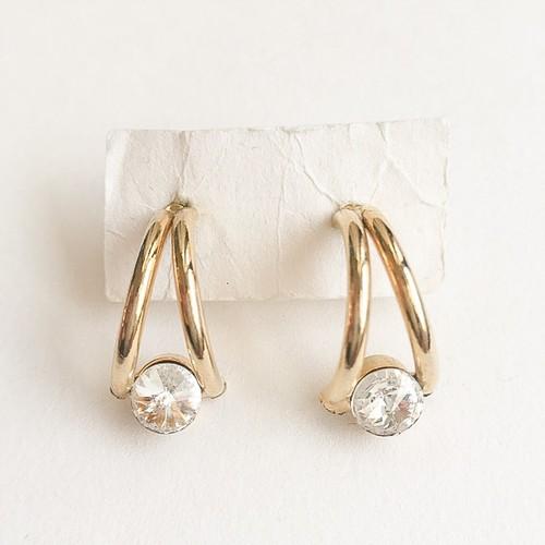 gold & rhinestone hoop pierce[p-378]