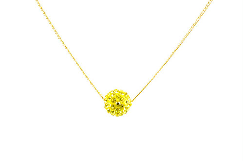 ラインストーンパヴェボールネックレス pve-neckcitron1 シトロン(黄色) パヴェ キラキラ