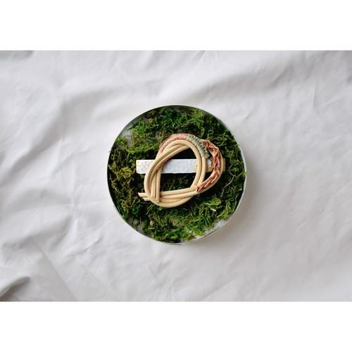 ita shiori 【 Hanaikada barette -  mint & camel - 】 handmade / rattan / ハナイカダ バレッタ / いたしおり / 籐 /  japan