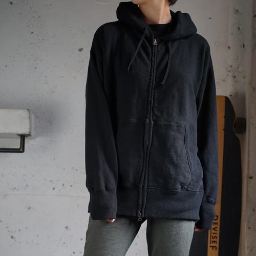 【おとな】吊り編み立ち襟パーカー 杢グレー/ブラック
