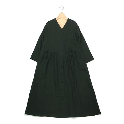 ジャパンリネン Yネック ロングワンピース【ミッドグリーン】
