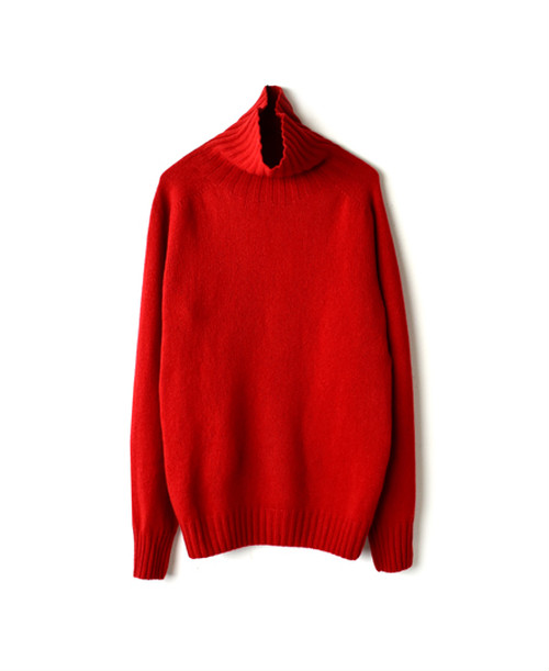 【ARMEN】POLO NECK SADDLE SHOULDER P/O:レッド