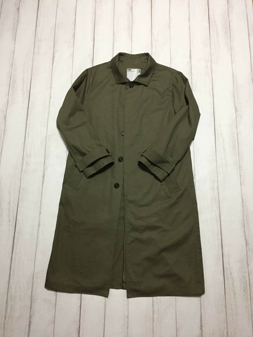 fly front long coat / khaki