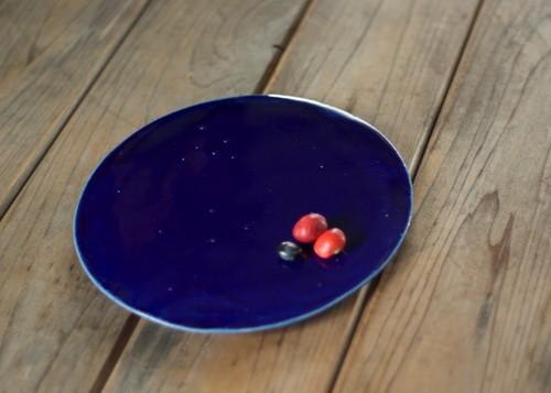 瑠璃釉陶版のお皿(小/無)