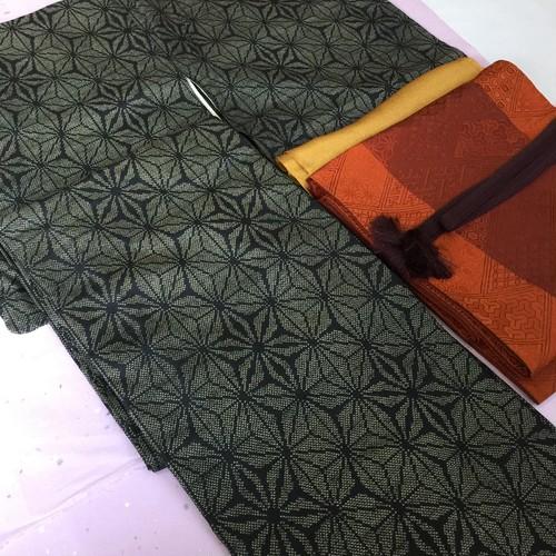 麻の葉模様 手織り真綿紬(織り出し)しつけ付き 未使用品