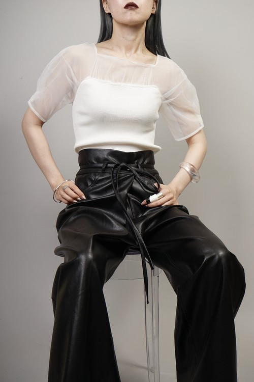 SEE-THROUGH SWITCHING KNIT TOPS  (WHITE) 2106-32-27