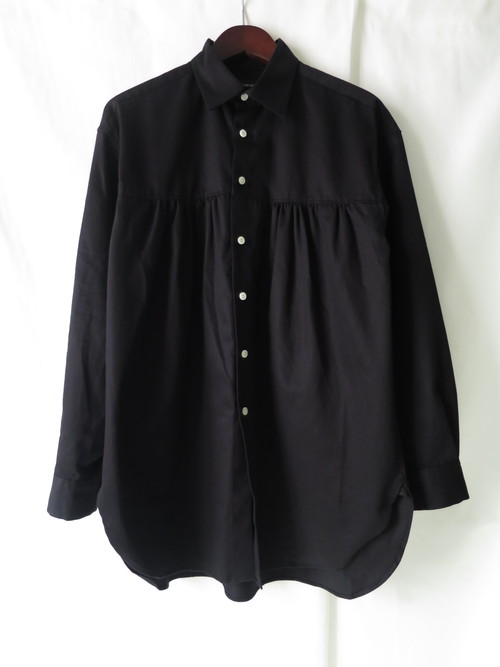Front Gather Shirt Black